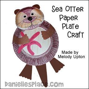 Paper Plate Sea Otter Made by Melody Upton using Danielle's Place Sea Otter Paper Plate Craft