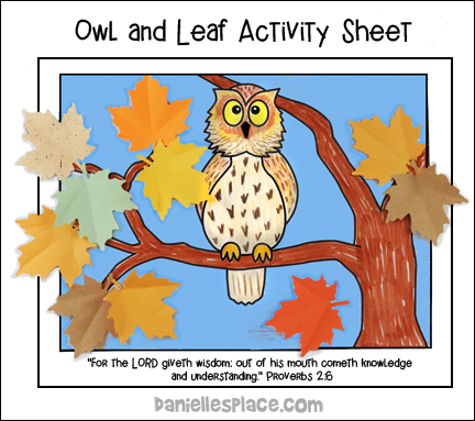 Owl, Leaf, and Bible Verse Activity Sheet