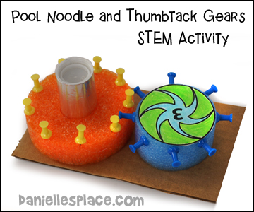 Pool Noodle and Thumbtack gears STEM Activity from www.daniellesplace.com