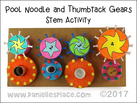 Pool Noodle and Thumbtack Gears STEM Activity for children from www.daniellesplace.com - ©2017