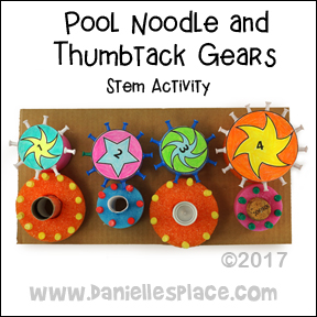 Pool Noodle and Thumbtack Gears STEM Activity for Children of all ages from www.daniellesplace.com ©2017