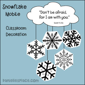 Snowflake Mobile Classroom Decoration from www.daniellesplace.com