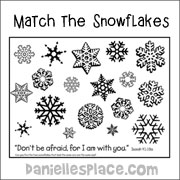 Match the Snowflakes Bible verse activity sheet