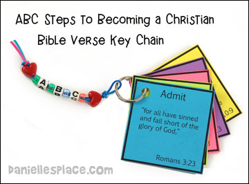 ABC Steps to Becoming a Christian Bible Verse Key Chain Craft