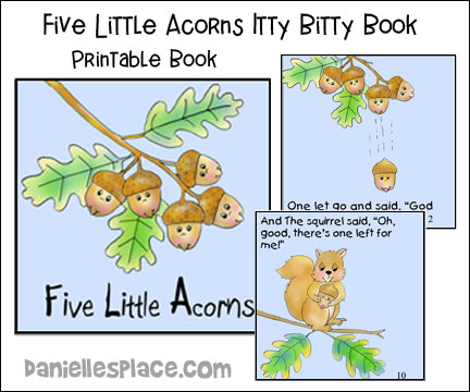 Five Little Acorns Printable Itty Bitty Book For Christian Home Schools