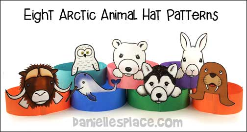 Arctic Animal Hats Craft for Children from www.daniellesplace.com