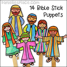 Fourteen Bible Stick Puppets to review Bible Lessons