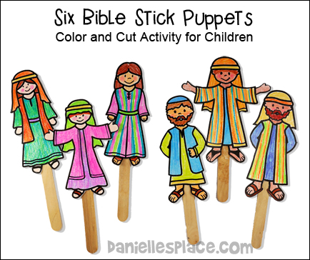 Color-Your-Own Bible Stick Puppets from www.daniellesplace.com