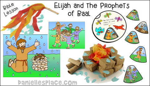 Elijah and the Prophets of Baal Bible Lesson with crafts and activities from www.danielllesplace.com