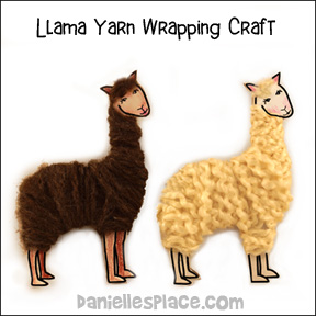 Llama Yarn Wrapping Craft for Kids