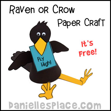 Raven or Crow Paper Craft for Children from www.daniellesplace.com