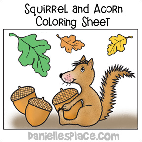 Squirrel, Acorn and Leaves Coloring Sheet from www.daniellesplace.com