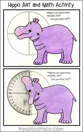 Hippo Art, Math and Science Activity from www.daniellesplace.com