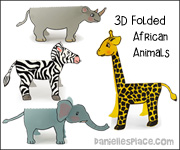 African Animal Standup Crafts