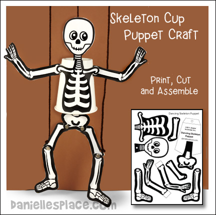Skeleton Cup Puppet Craft from www.daniellesplace.com