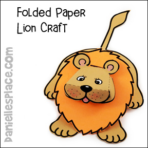 Folded Paper Lion Craft from www.daniellesplace.com