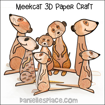 Meerkat 3D Folded paper Craft for Kids from www.daniellesplace.com
