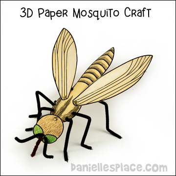 3D Paper Mosquito Craft from www.daniellesplace.com