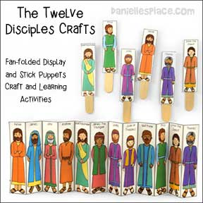 The Twelve Disciples Crafts and stick puppets