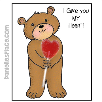 I Give You My Heart Bear Valentine's Day Card from www.daniellesplace.com