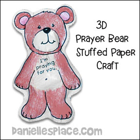 3D Stuffed Prayer Bear Paper Craft from www.daniellesplace.com