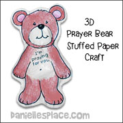 3D Prayer Bear Stuffed Paper Craft