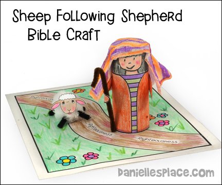 Sheep Following Shepherd Bible Craft for Psalm 23:3 from www.daniellesplace.com