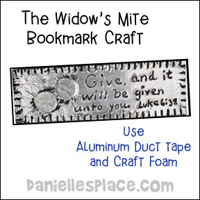 Widow's Mite Bookmark Craft from www.daniellesplace.com