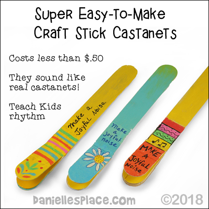 Craft Stick Castanents - Super, Easy-to-Make from www.daniellesplace.com