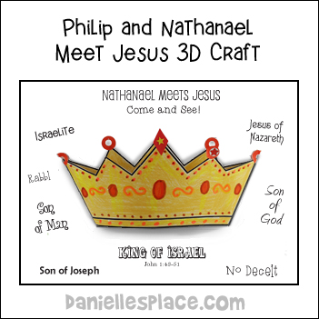 Philip and Nathanael Meet Jesus 3D Crown craft and Learning Activity