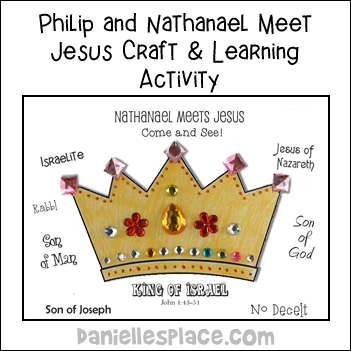 Nathanael meets Jesus Crown Craft and Learning Activity