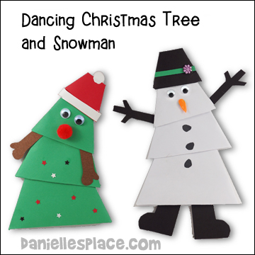 dancing christmas tree and snowman paper craft