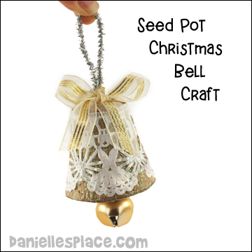 Seed Pot or Paper Cup Doily Bell Craft
