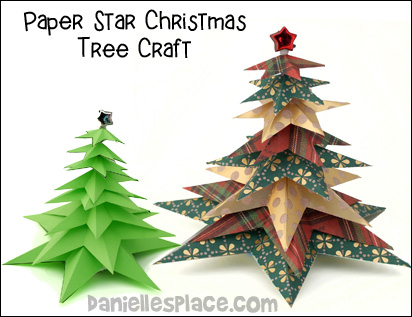 Paper Star Christmas Tree Craft for Kids