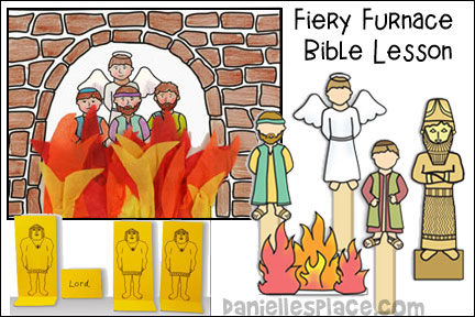 image about Bible Character Puppets Printable titled Shadrach, Meshach, and Abednego Bible Crafts