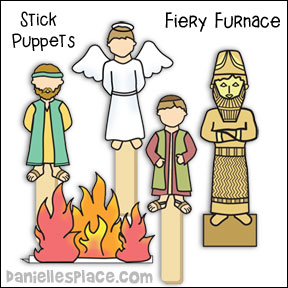 Fiery Furnance Stick Puppets for Sunday School