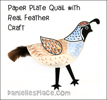 Paper Plate Quail with Real Feather Craft