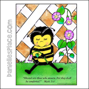 Bee Crying Coloring Sheet for Beatitude Bible Lesson from www.daniellesplace.com