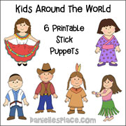 Kids from around the World Stick Puppets for Tower of Babel Bible Lesson