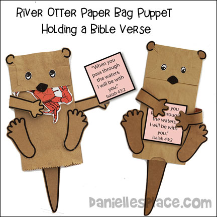 River Otter Paper Bag Puppet Holding a Bible Verse Craft