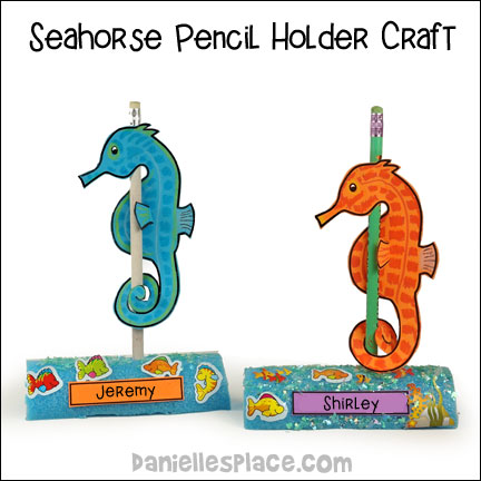 """Hold onto Jesus"" Seahorse Pencil Holder Craft from www.daniellesplace.com"
