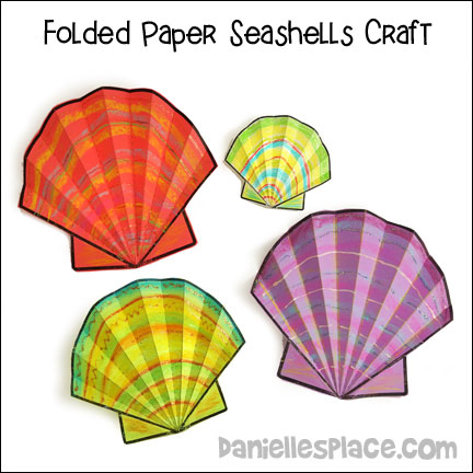 Folded Paper Seashell Craft from www.daniellesplace.com