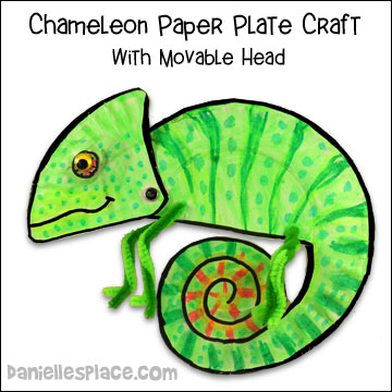 Chameleon Paper Plate Craft from www.daniellesplace.com