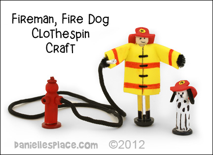 Clothespin Fireman and Fire Dog Craft