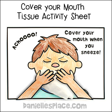 Cover Your Mouth When You Sneeze Coloring and Activity Sheet