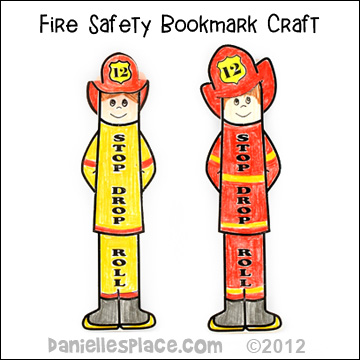 """Stop, Drop and Roll"" Firemen, Fire Safety Bookmarks Children"