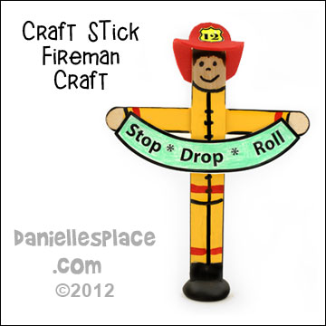 Craft Stick Fireman Holding a Stop, Drop, and Roll Sign Fire Safety Craft Kids Can Make www.daniellesplace.com
