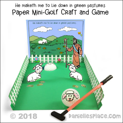 Paper Mini Golf Craft for Sunday School - Psalm 23 - from www.daniellesplace.com