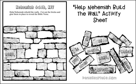 Nehemiah Activity Sheet from www.daniellesplace.com