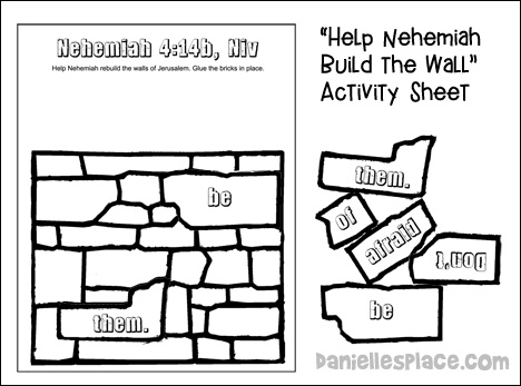 Nehemiah Activity Sheet for Younger Children from www.daniellesplace.com